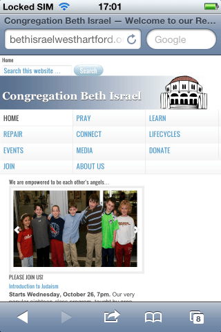 Screenshot of CBICT.org Mobile site from 2011