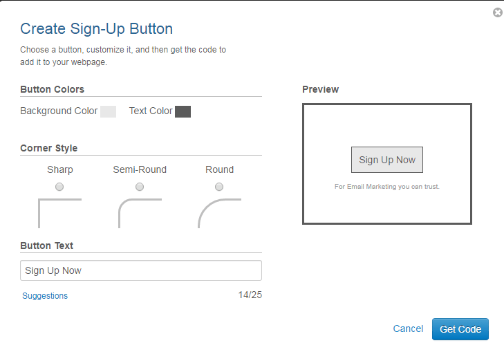 Constant Contact Button Options